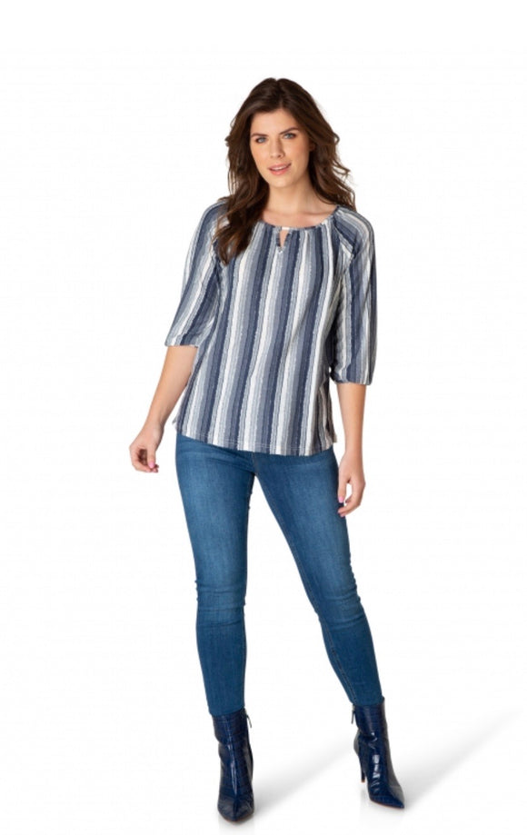 Geertine Blue Striped 3/4 Sleeve Top by Yest