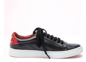 Black Leather Lips Natasha Sneakers by Lulu Guinness