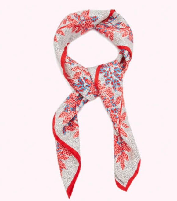 Leaves Silk Twill Square Scarf in Blossom by Lulu Guinness