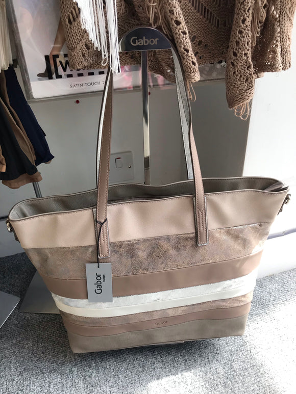 Bianca Striped Shopper in Taupe by Gabor