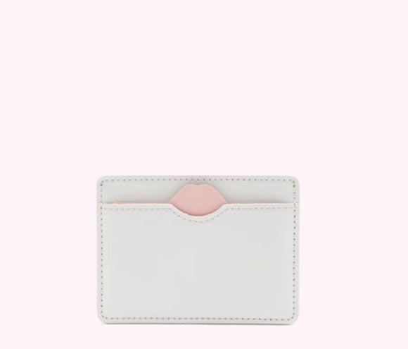 Lip Cut Out Cate Cardholder in Oyster by Lulu Guinness