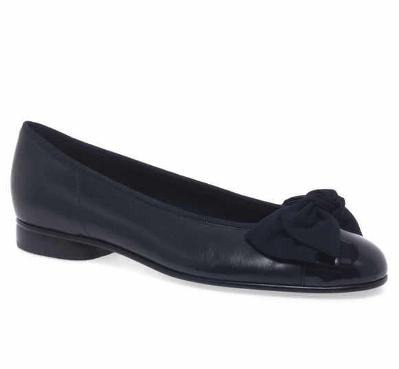 AMY Navy Shimmer Pump with Patent Toe by Gabor