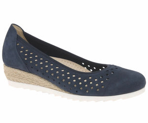 EVELYN Blue Suede Wedge by Gabor
