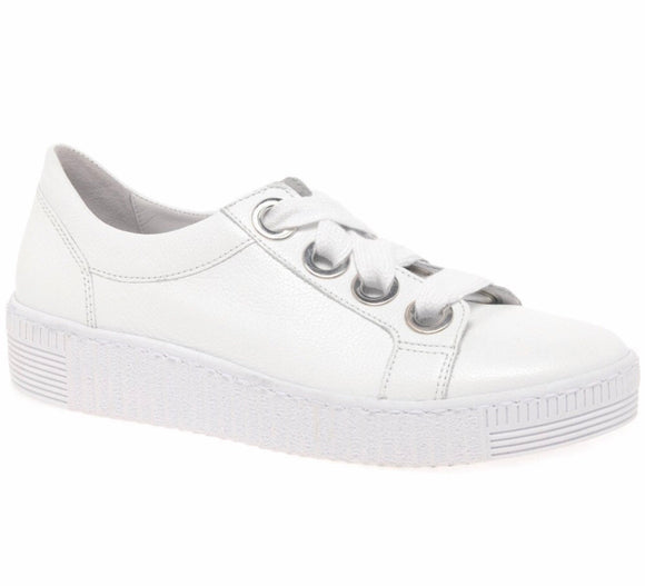 WRIGHT White Leather Sneaker by Gabor