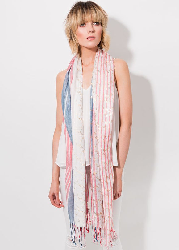 Rochelle Scarf in red/blue