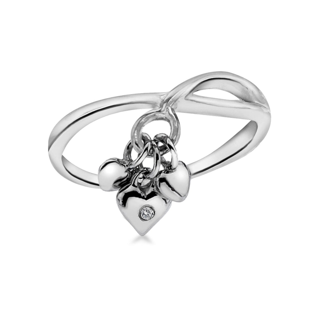 Lily & Lotty Sterling Silver Diamond 3 Small Hearts Charms Ring - Queen of Silver