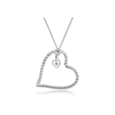 Lily & Lotty Sterling Silver Diamond Twist Heart Pendant with 18