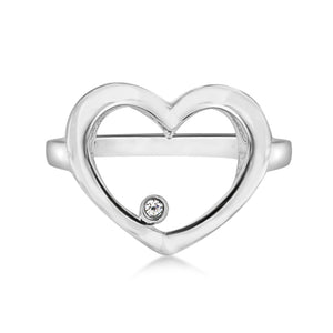 Lily & Lotty Sterling Silver Diamond Open Heart Shaped Ring - Queen of Silver