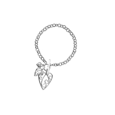 Lily & Lotty Sterling Silver Diamond Hearts Charms T-Bar Bracelet - Queen of Silver