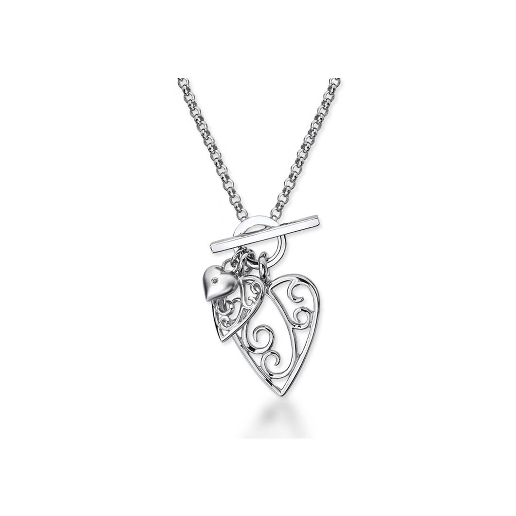 Lily & Lotty Sterling Silver Diamond Set Filigree Hearts Pendant with 18
