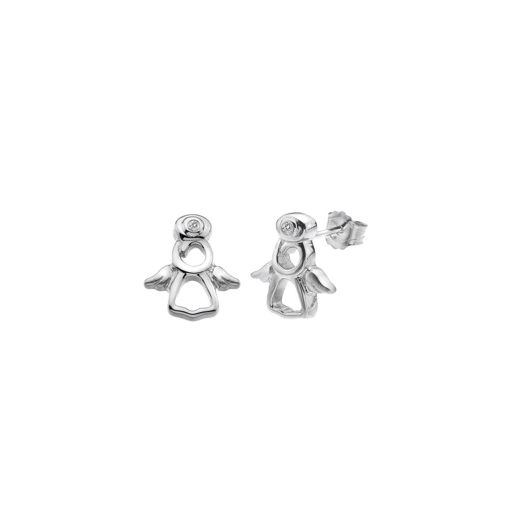 Lily & Lotty Sterling Silver Diamonds Angel Shaped Studs - Queen of Silver