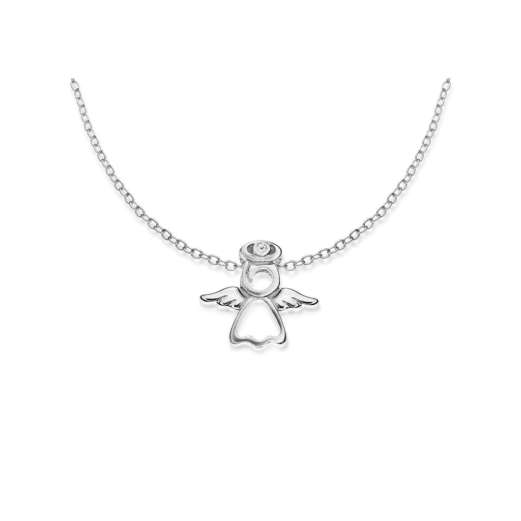 Lily & Lotty Sterling Silver Diamond Set Small Angel Pendant with 16