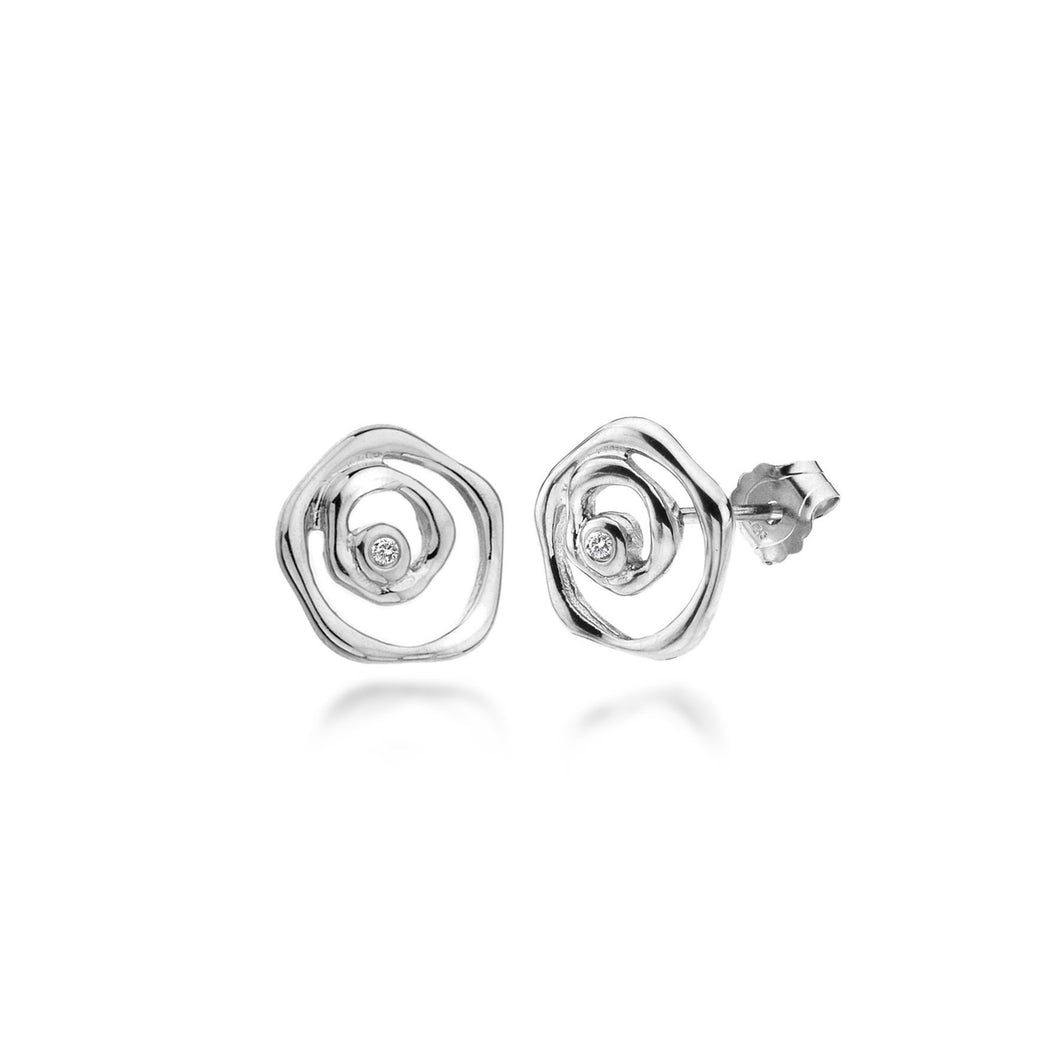 Lily & Lotty Sterling Silver Diamonds Flower Roses Earrings - Queen of Silver