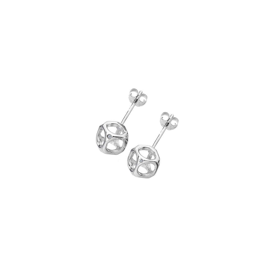 Lily & Lotty Sterling Silver Diamonds Open Cube Studs Earrings - Queen of Silver