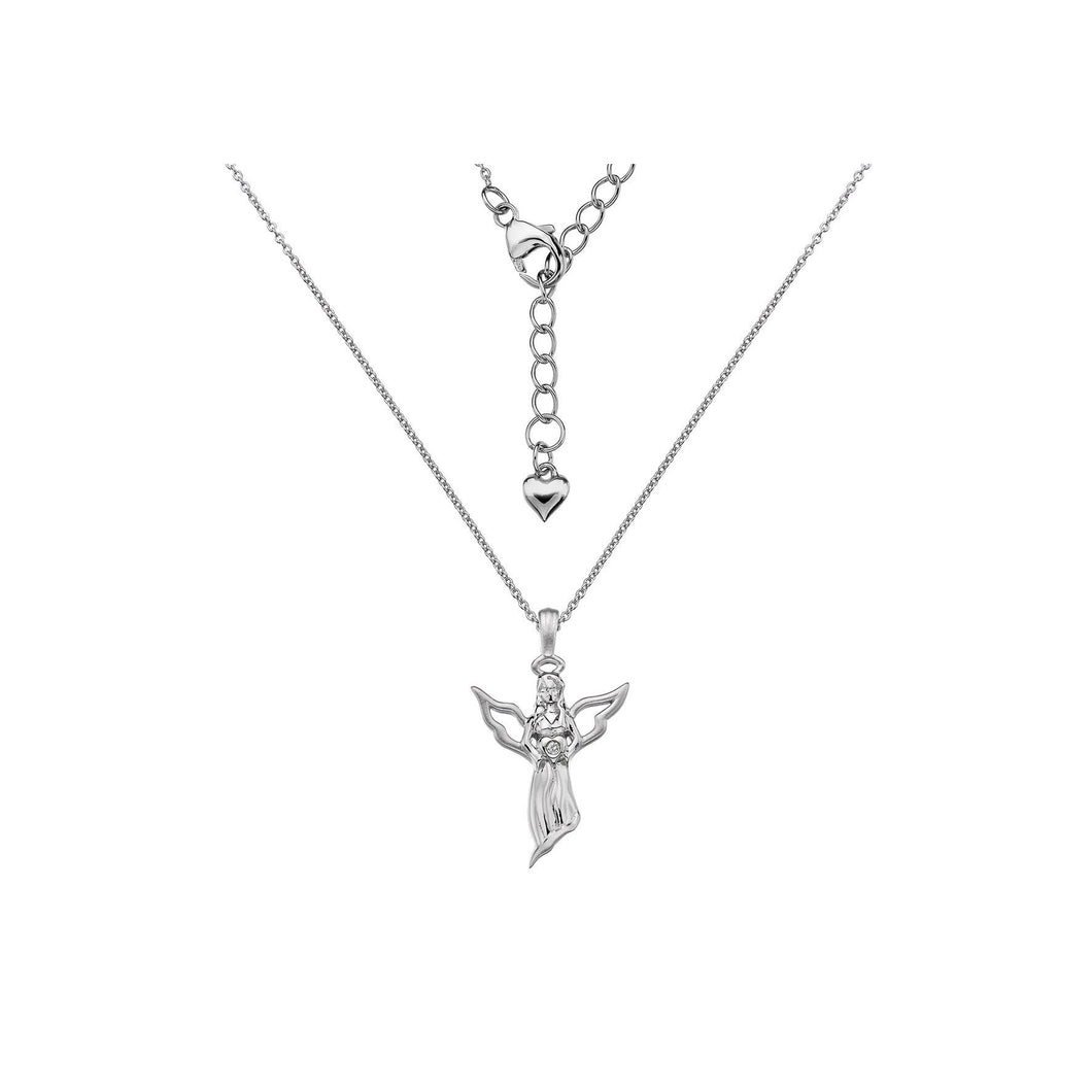 Lily & Lotty Sterling Silver Diamond Set Angel Pendant with 18