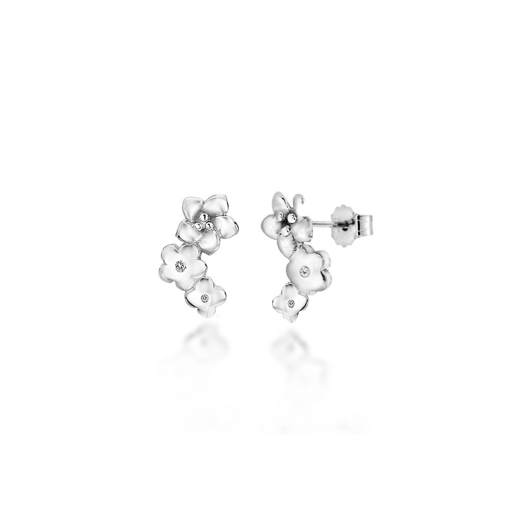 Lily & Lotty Sterling Silver Diamonds Flowers Studs Earrings - Queen of Silver