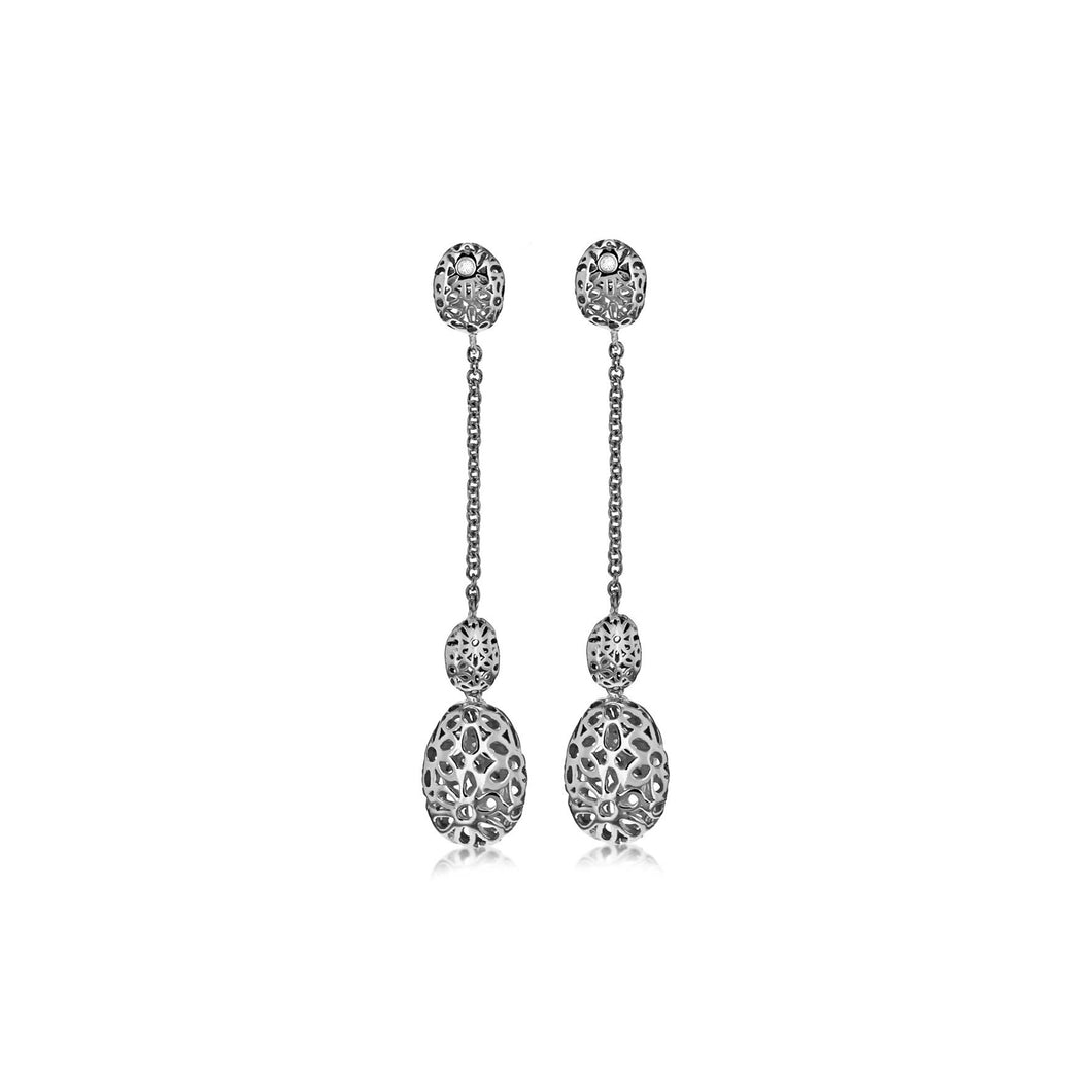 Lily & Lotty Sterling Silver Diamonds Floral Ball Drop Earrings - Queen of Silver