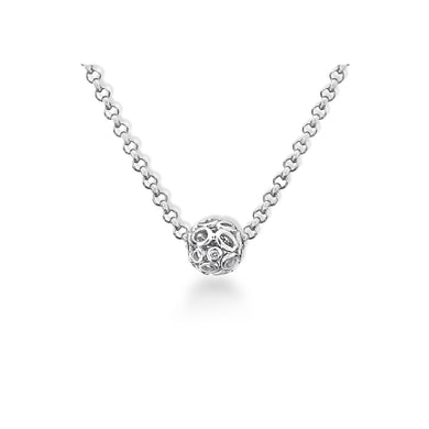 Lily & Lotty Sterling Silver Diamond Sliding Bead Pendant with 16