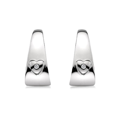 Lily & Lotty Sterling Silver Diamonds Hoops Heart Earrings - Queen of Silver