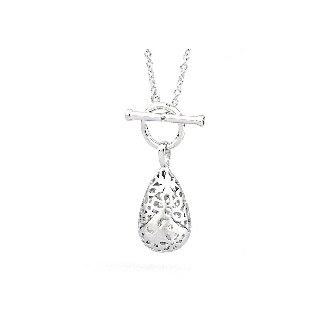 Lily & Lotty Sterling Silver Diamond T-Bar Floral Teardrop Pendant with 18