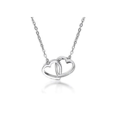Lily & Lotty Sterling Silver Diamond Double Heart Link Pendant with 18