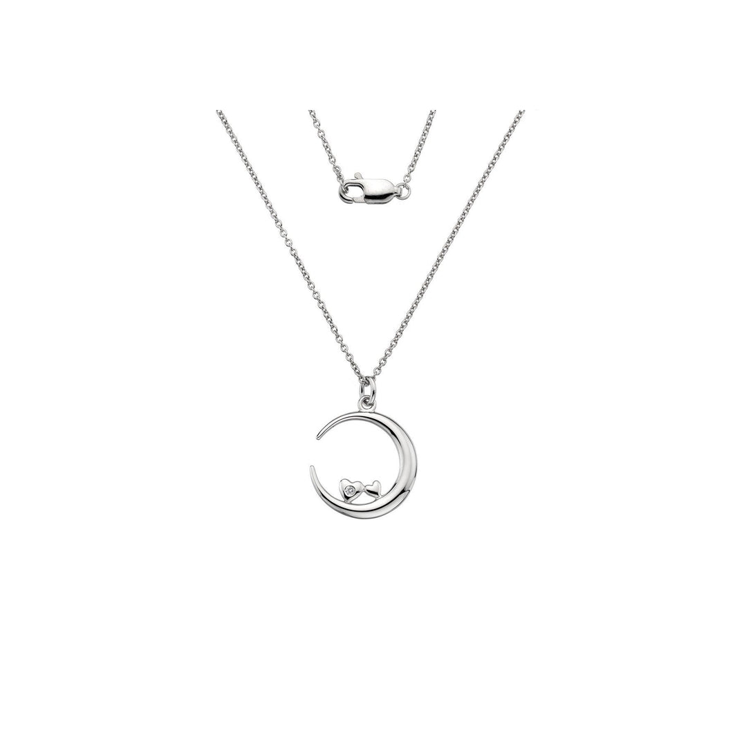Lily & Lotty Sterling Silver Diamond Moon & Heart Loving You Pendant with Chain - Queen of Silver