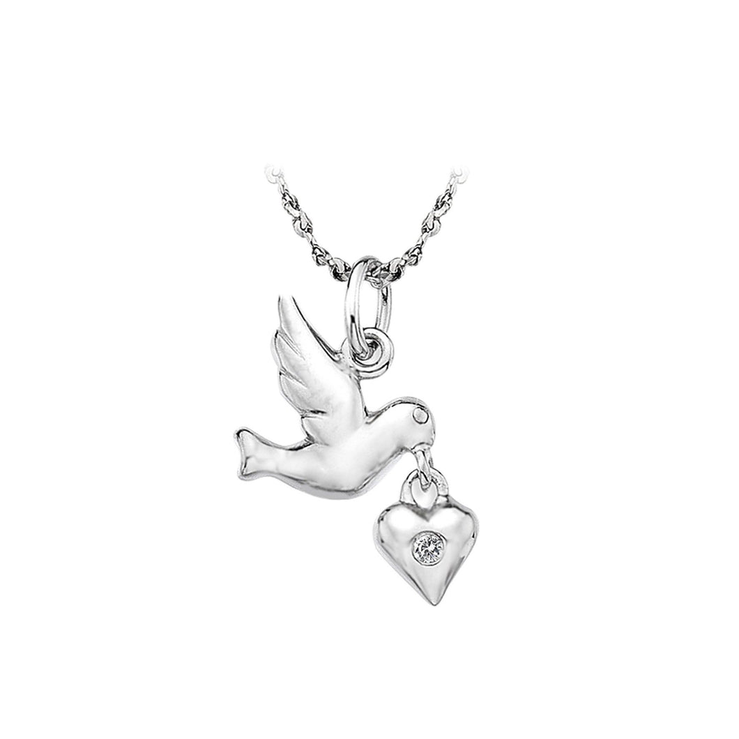 Lily & Lotty Sterling Silver Diamond Bird & Heart Pendant with 18