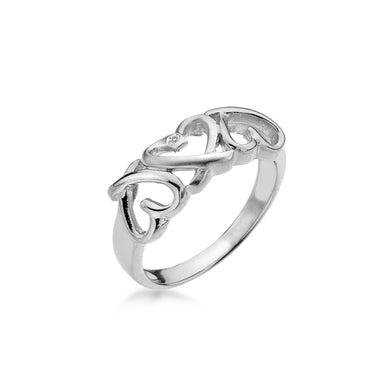 Lily & Lotty Sterling Silver Diamond Triple Kiss Cross Ring - Queen of Silver