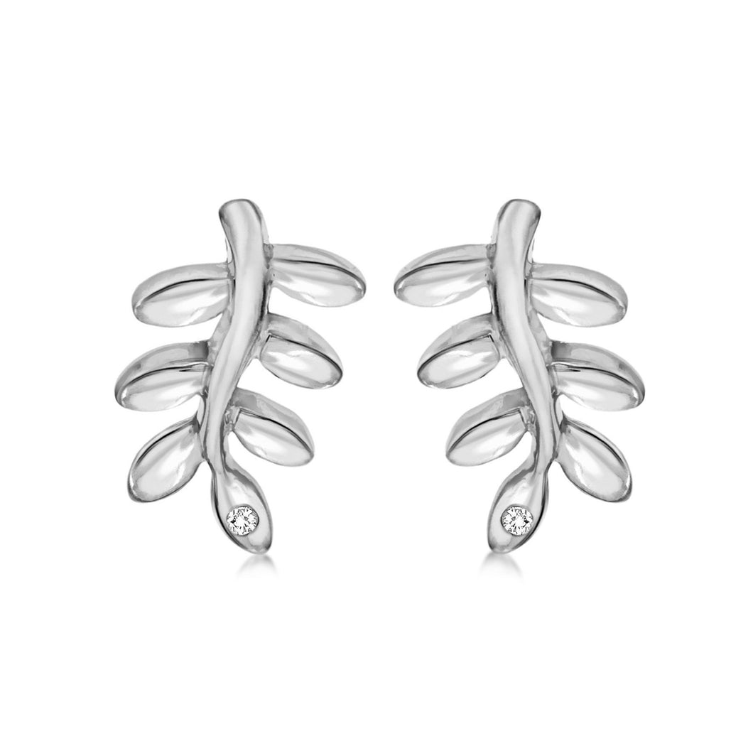 Lily & Lotty Sterling Silver Diamonds Leaf Studs Earrings - Queen of Silver