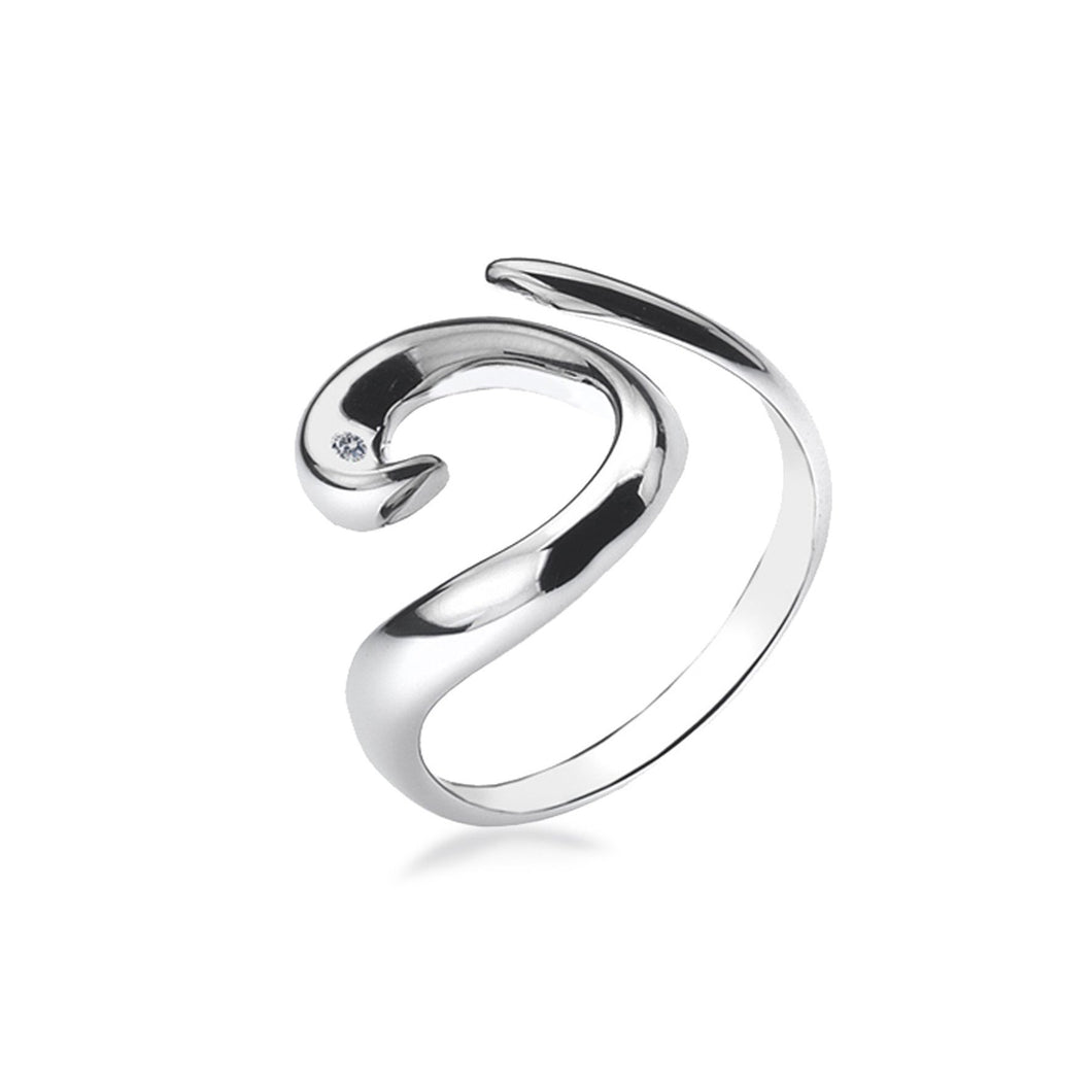 Lily & Lotty Sterling Silver Diamond Swirl Twist Ring - Queen of Silver