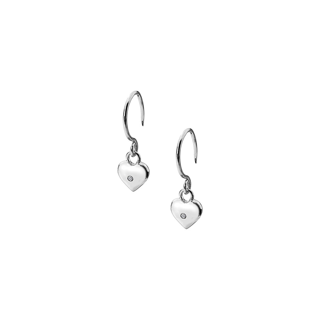 Lily & Lotty Sterling Silver Diamonds Heart Drop 4mm Hook Earrings - Queen of Silver