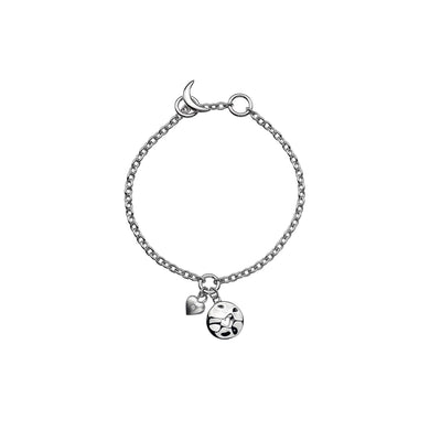 Lily & Lotty Sterling Silver Diamond Heart Disc Charms Bracelet - Queen of Silver