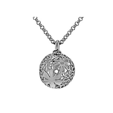 Lily & Lotty Sterling Silver Diamond Matt Floral Ball Pendant 20