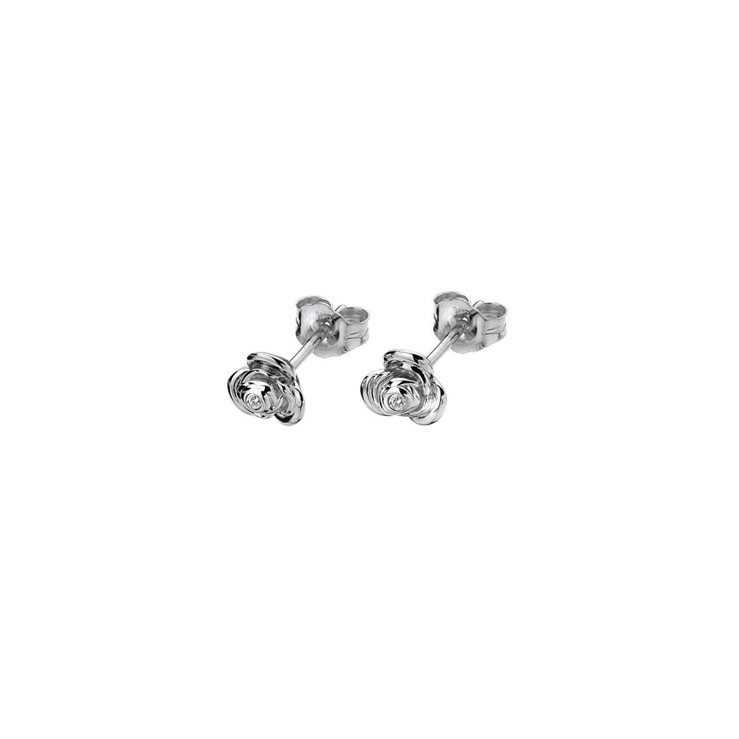 Lily & Lotty Sterling Silver Diamonds Rose Studs Flowers Earrings - Queen of Silver
