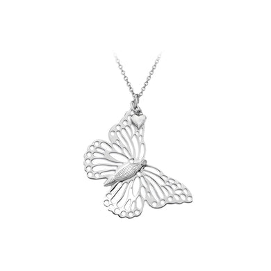 Lily & Lotty Sterling Silver Diamond Openwork Butterfly Pendant with 18