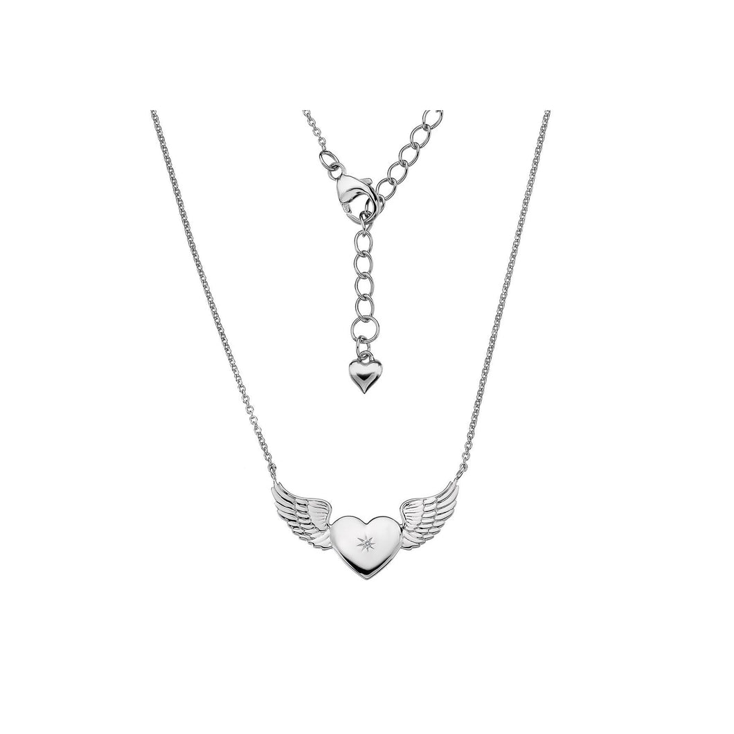 Lily & Lotty Sterling Silver Diamond Heart Wings Pendant with 18