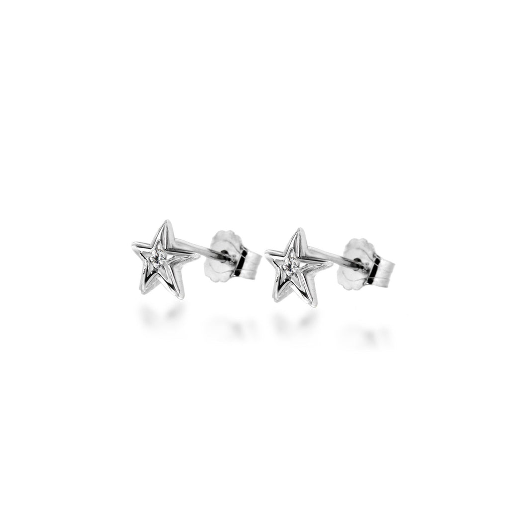 Lily & Lotty Sterling Silver Diamonds Star Shaped Studs Earrings - Queen of Silver