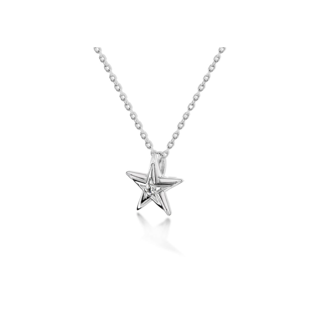 Lily & Lotty Sterling Silver Diamond Star Shaped Pendant with 18