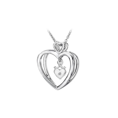 Lily & Lotty Sterling Silver Diamond Heart Inside Pendant with 18