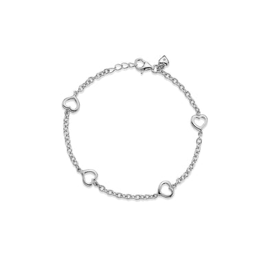 Lily & Lotty Sterling Silver Diamond Open Hearts Charms Bracelet - Queen of Silver
