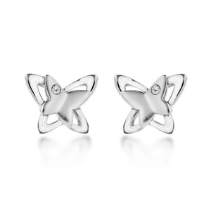 Lily & Lotty Sterling Silver Diamonds Butterfly Studs Earrings - Queen of Silver