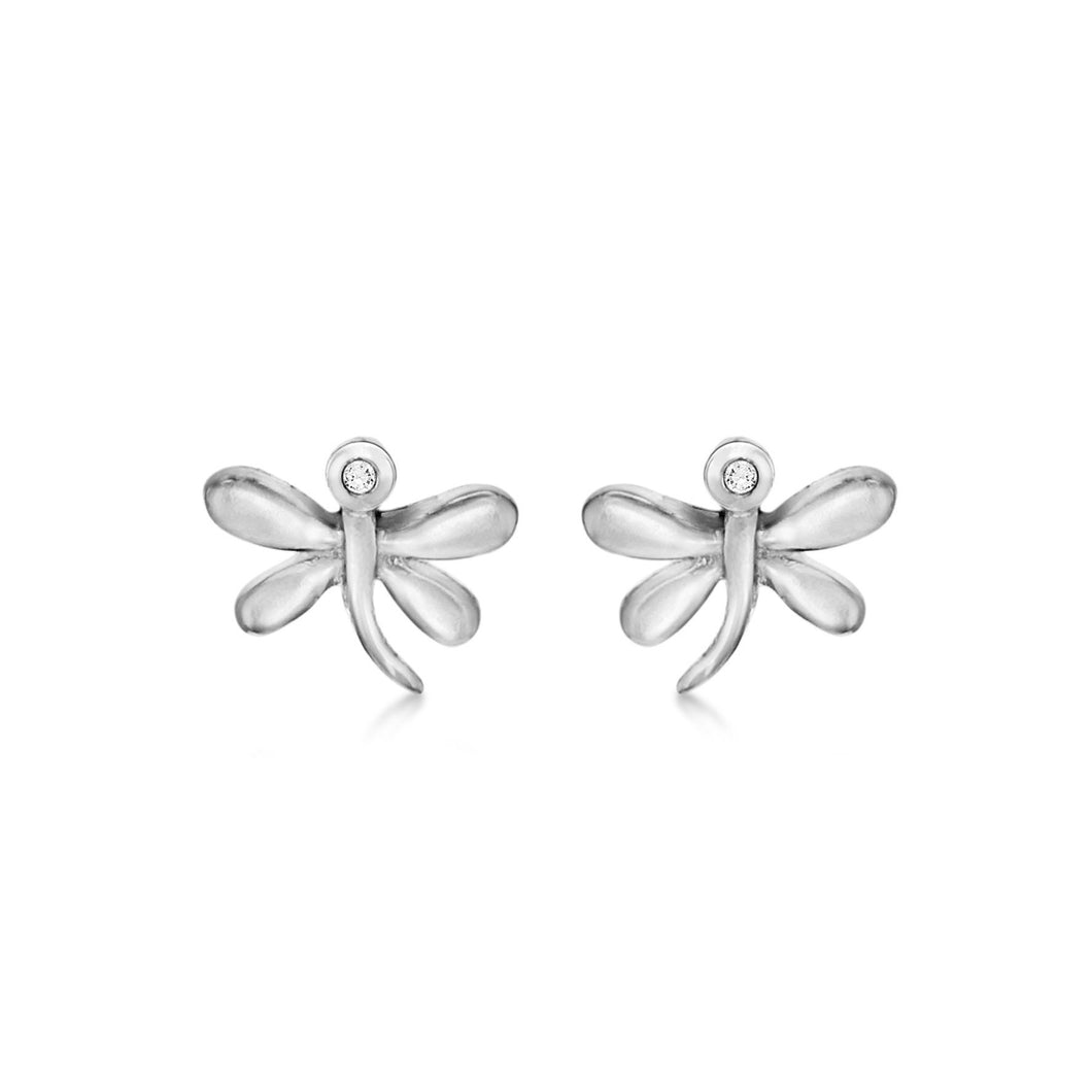 Lily & Lotty Sterling Silver Diamonds Dragonfly Studs Earrings - Queen of Silver