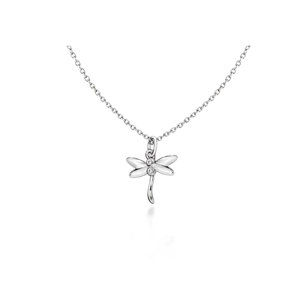 Lily & Lotty Sterling Silver Diamond Dragonfly Pendant with 18