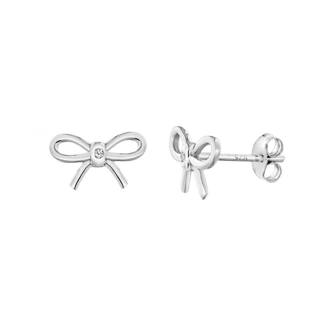 Lily & Lotty Sterling Silver Diamonds Ribbon Bow Studs Earrings - Queen of Silver