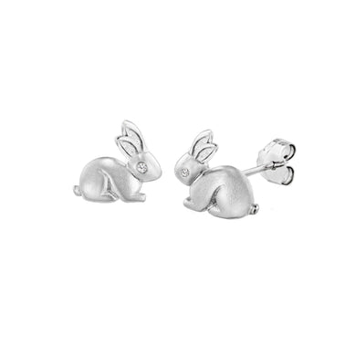 Lily & Lotty Sterling Silver Diamonds Bunny Rabbits Studs Earrings - Queen of Silver