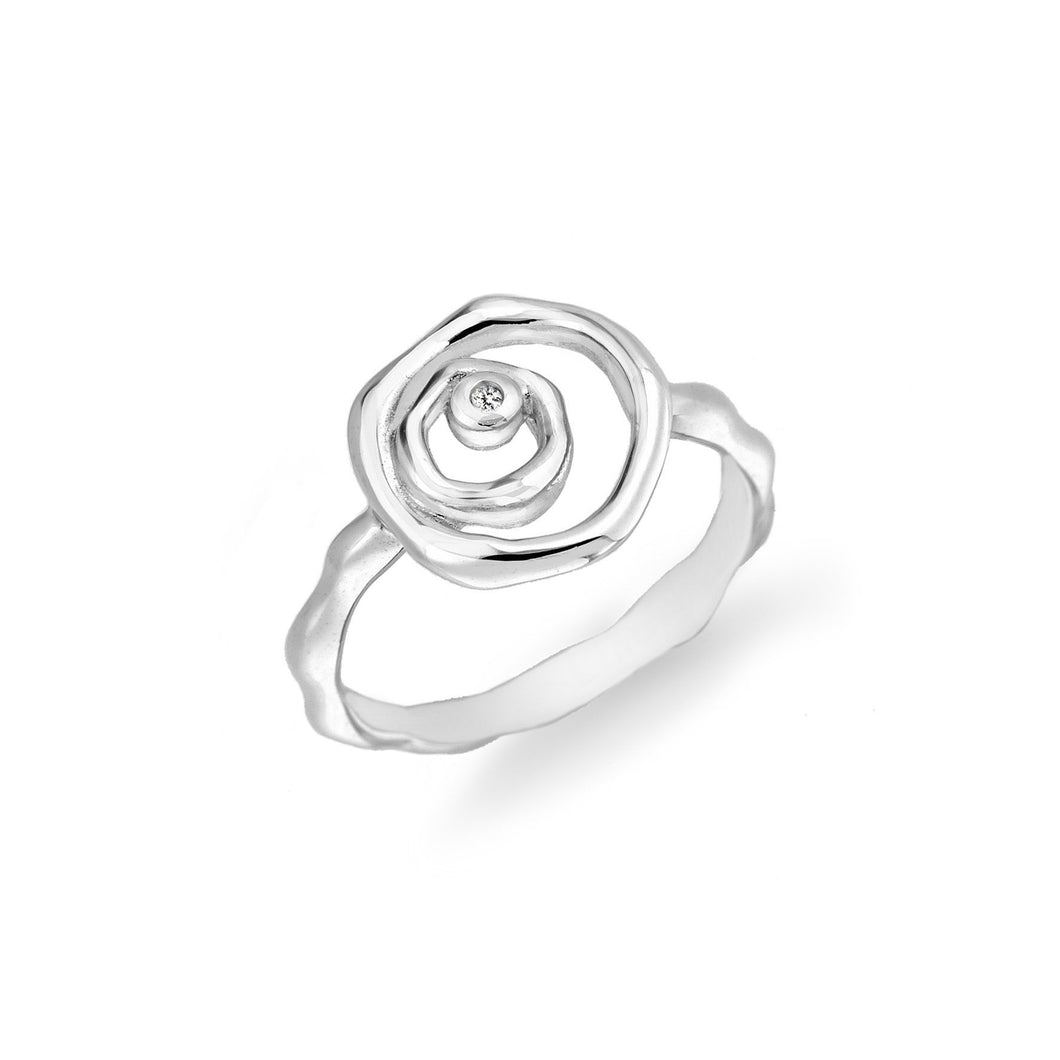 Lily & Lotty Sterling Silver Diamond Blossom Rose Flower Ring - Queen of Silver