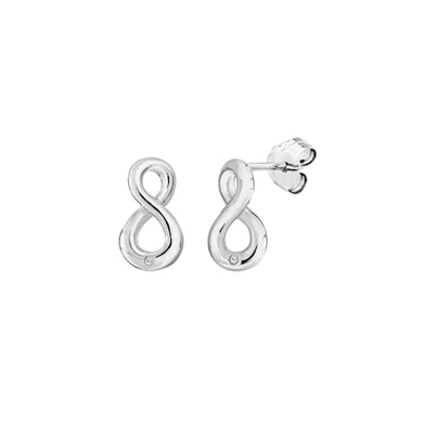 Lily & Lotty Sterling Silver Diamonds Figure of  8 Studs Earrings - Queen of Silver