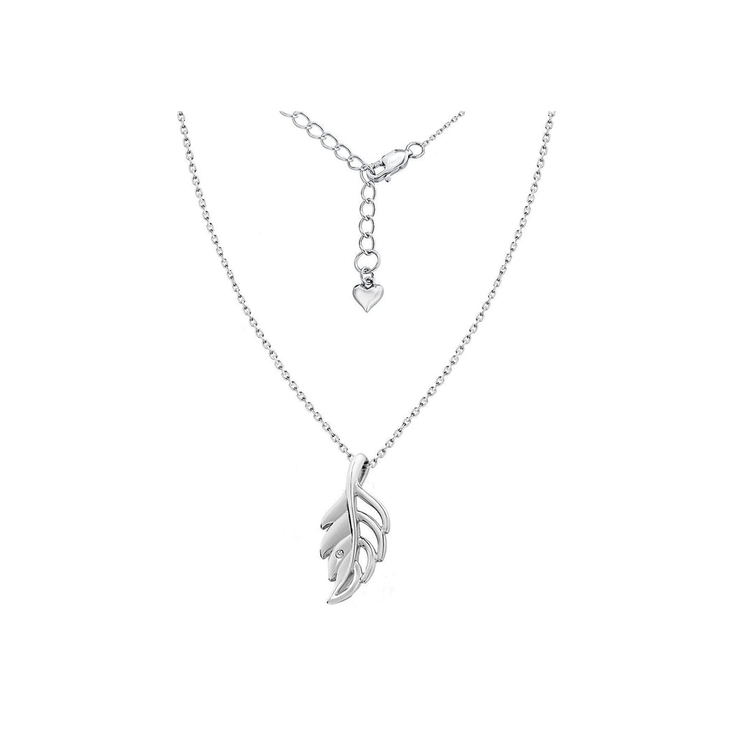 Lily & Lotty Sterling Silver Diamond Set Leaf Pendant with 40cm Chain - Queen of Silver