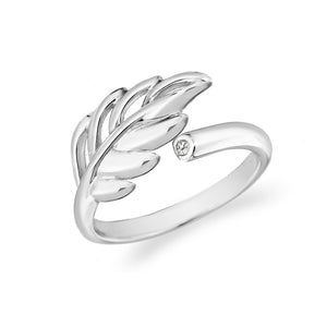 Lily & Lotty Sterling Silver Diamond Willow Leaf Nature Ring - Queen of Silver