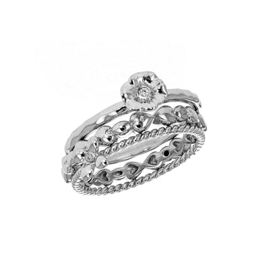 Lily & Lotty Sterling Silver Diamond 3 Stacking Rings - Queen of Silver